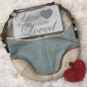 COACH Signature Blue Small Hobo Handbag